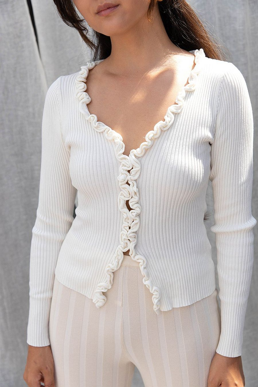 Find Me Now Charlie Ruffled Knit Top - White