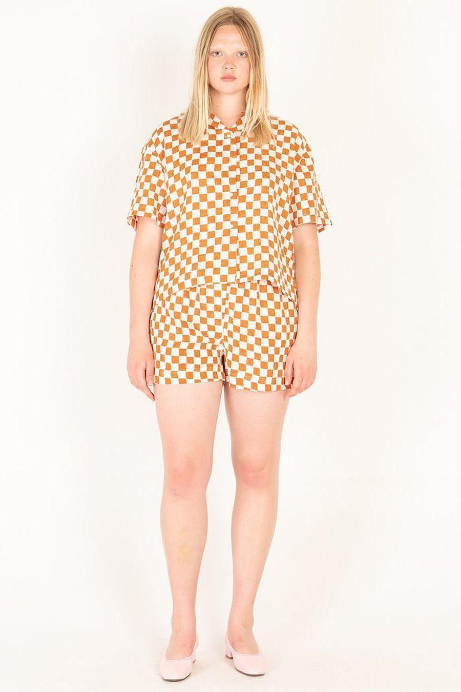 Holiday The Label Pyjama Short Set - Camel Check