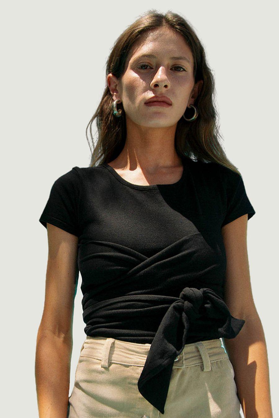 The Line by K Jeanne Wrap Top - Black