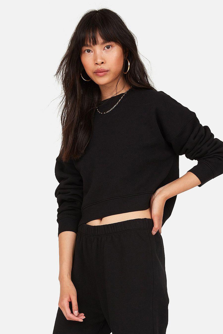 MATE The Label Fleece Crop Sweatshirt - JET BLACK