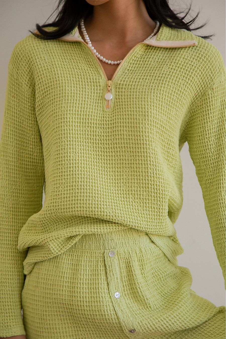 DONNI. Waffle 1/2 Zip Pullover - Lime