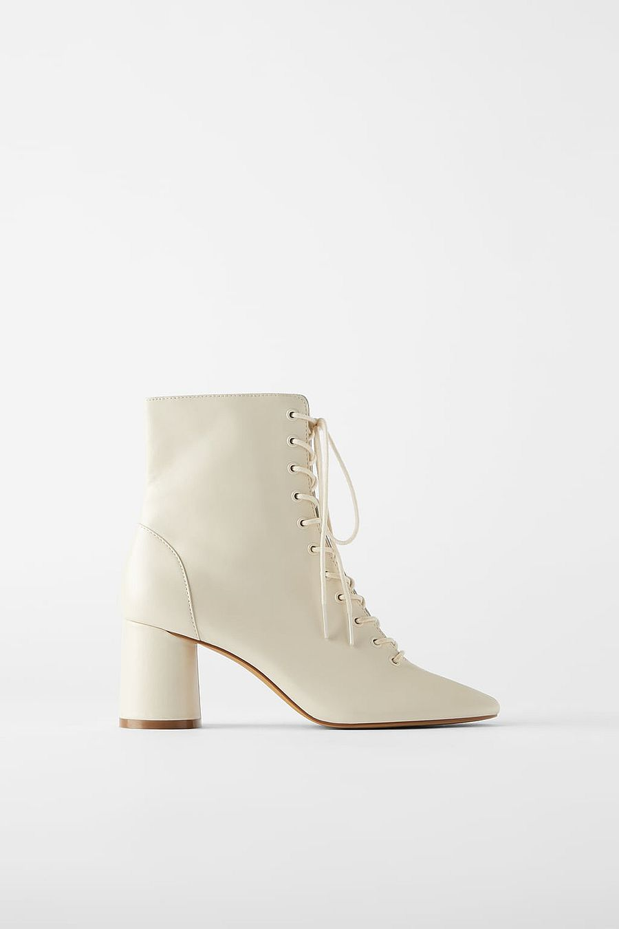 Zara Leather Laced Heeled Ankle Boots