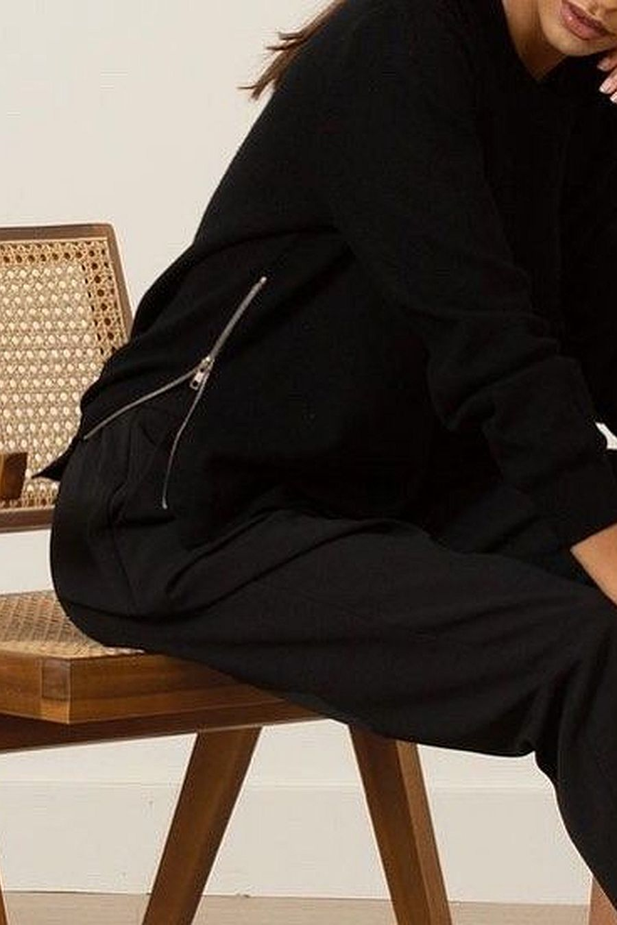 Modern Citizen Carla Side-Zip Cashmere-Blend Sweater