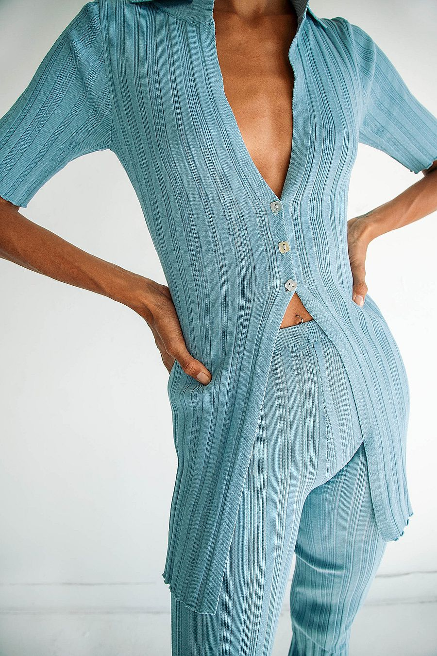 The Line by K Daisy Cardigan - Mineral blue