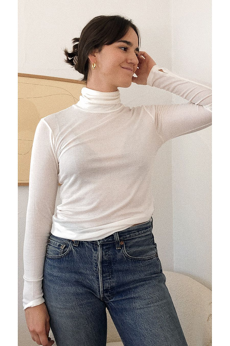 Just Female Millie Rollneck - White