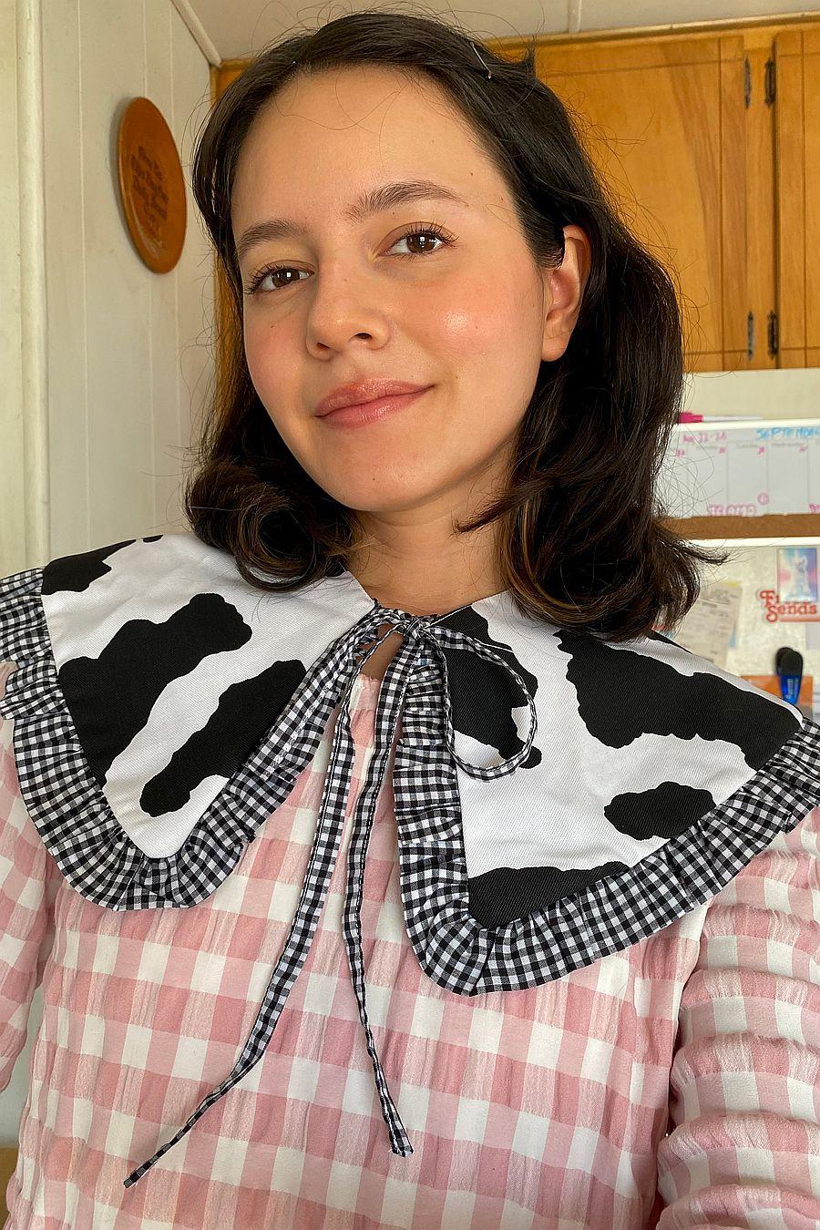 Big Baby Goes To Work Ruffle Collar - Cow/Gingham