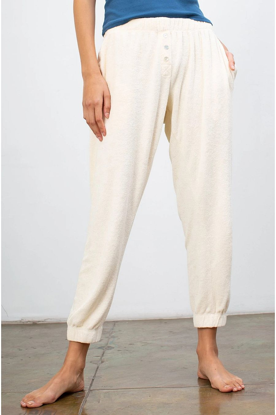 DONNI. Terry Henley Sweatpant - Creme
