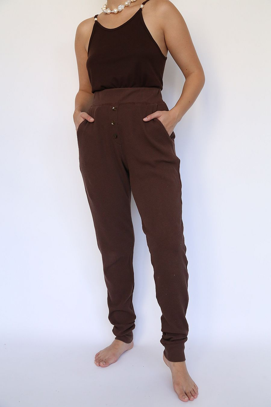 DONNI. Thermal Henley Sweatpant - Chocolate