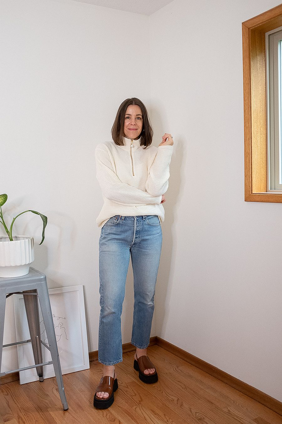 DONNI. Waffle 1/2 Zip Pullover - Creme
