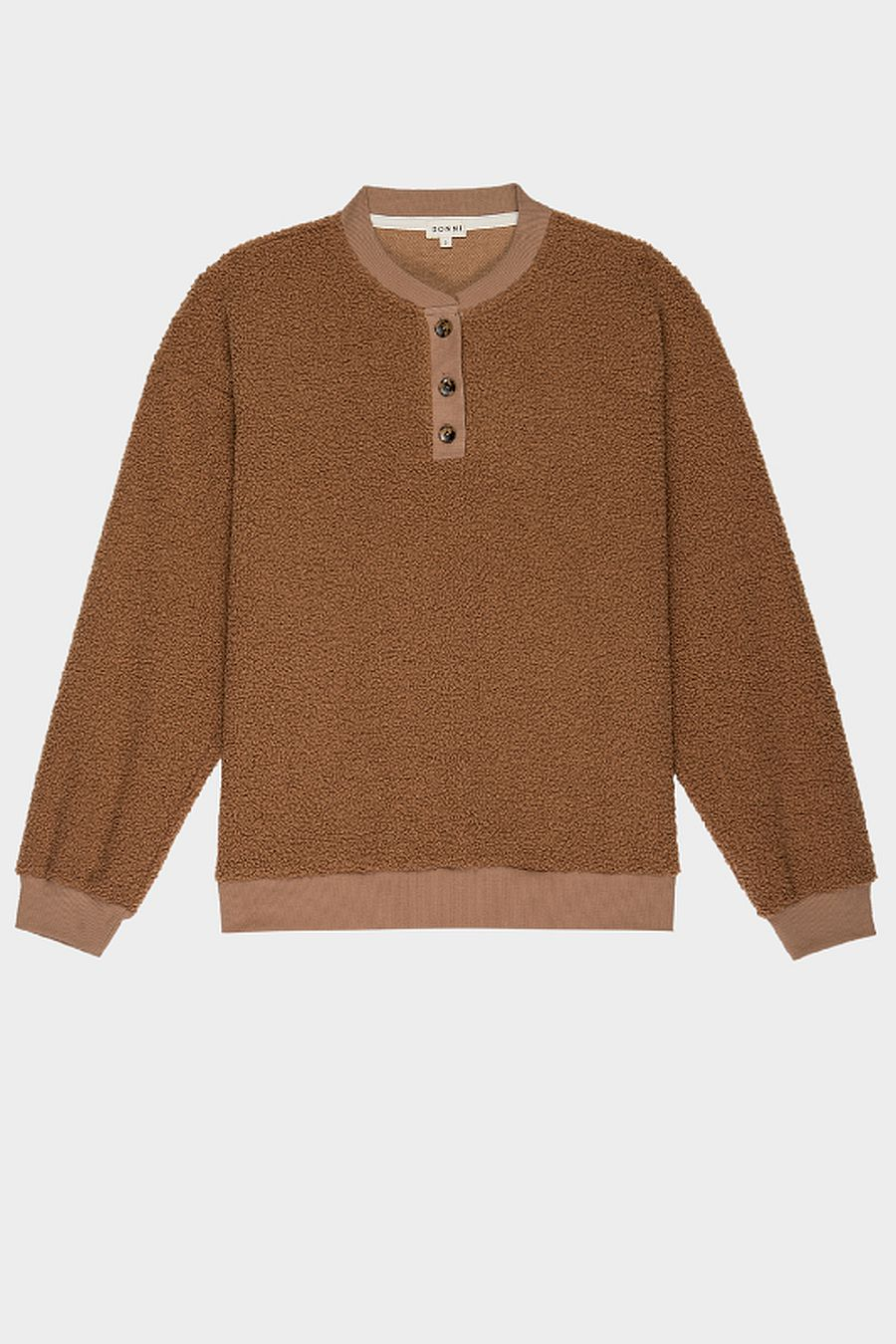 DONNI. Mini Sherpa Henley Sweatshirt - Camel