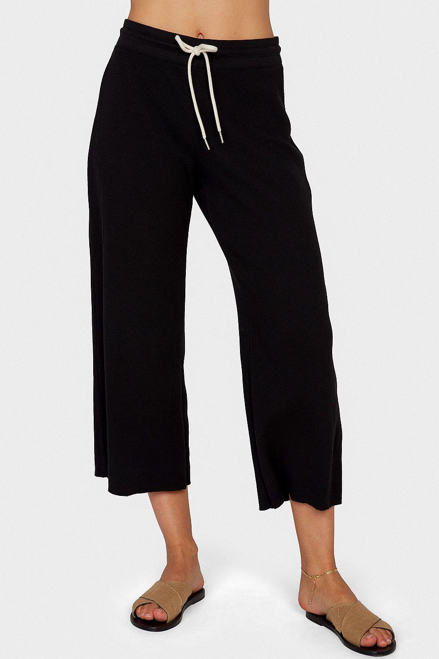 MATE The Label Organic Thermal Wide Leg Pant - JET BLACK