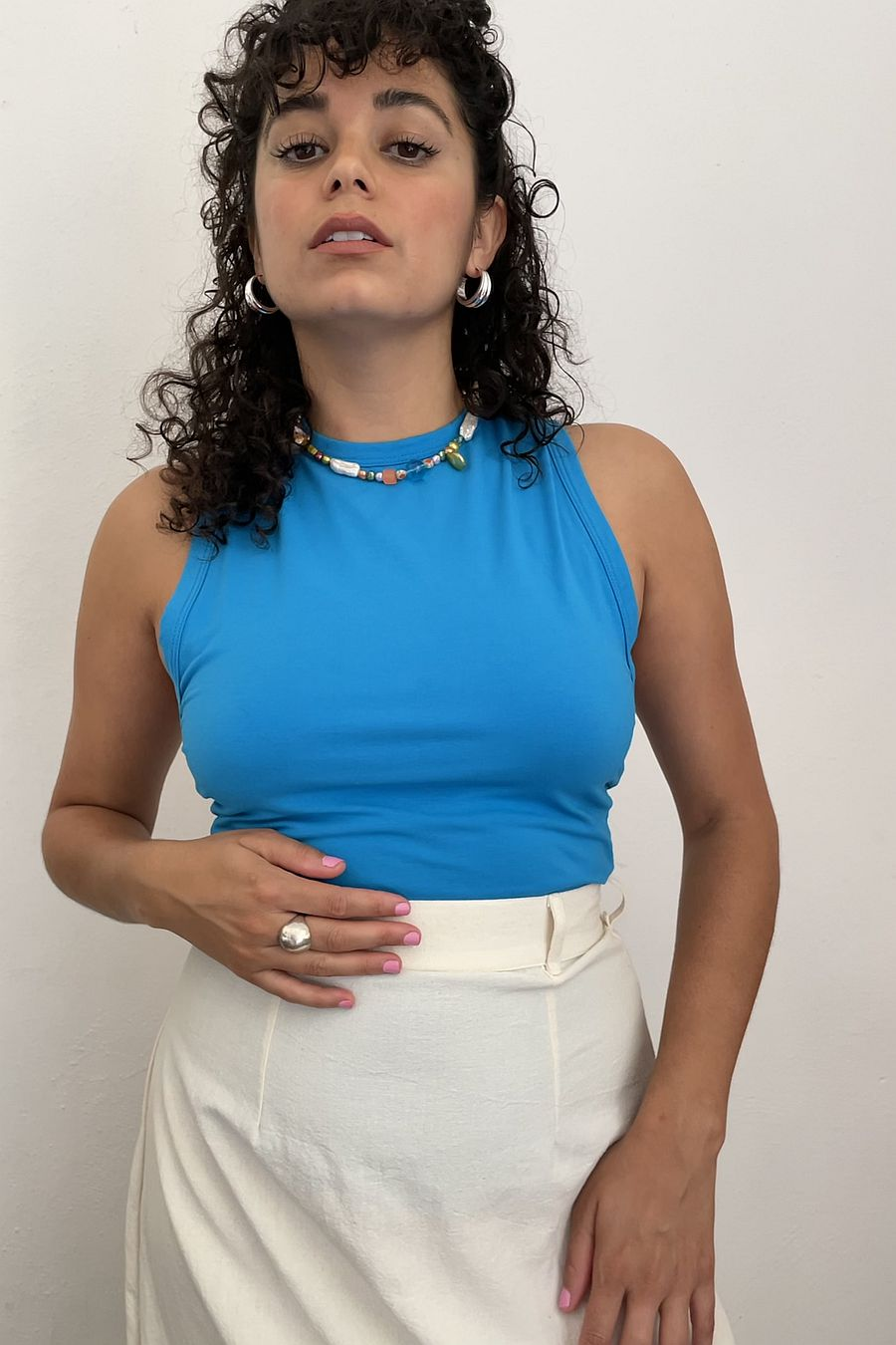 The Line by K Faelan Tank Top - Turquoise