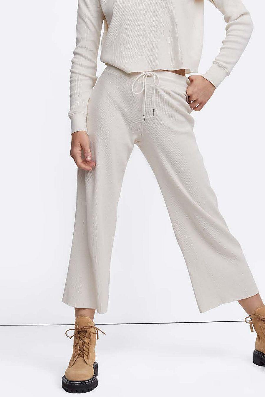 MATE The Label Organic Thermal Wide Leg Pant - BONE