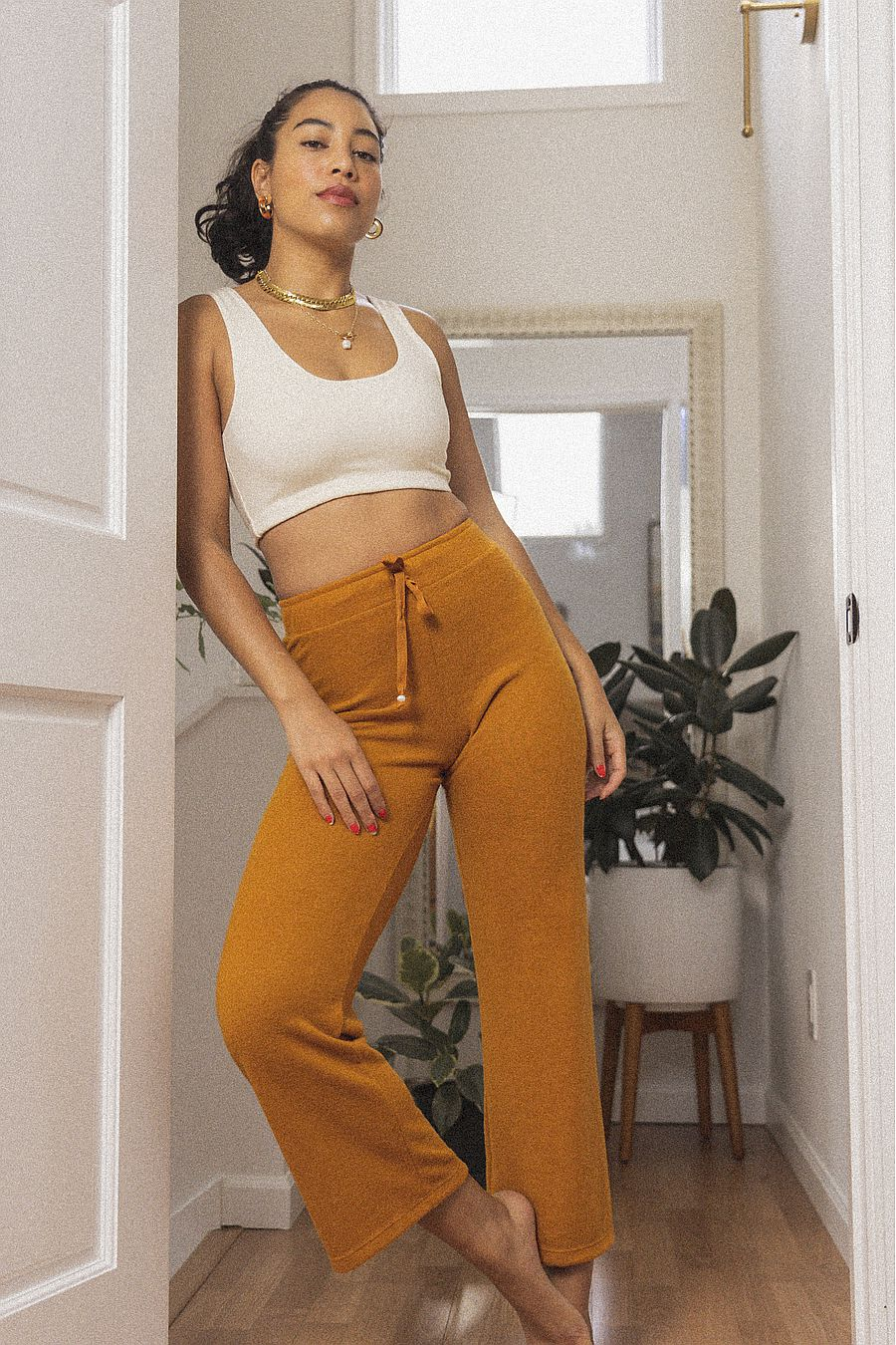 DONNI. Sweater Cropped Flare Sweatpant - Dijon