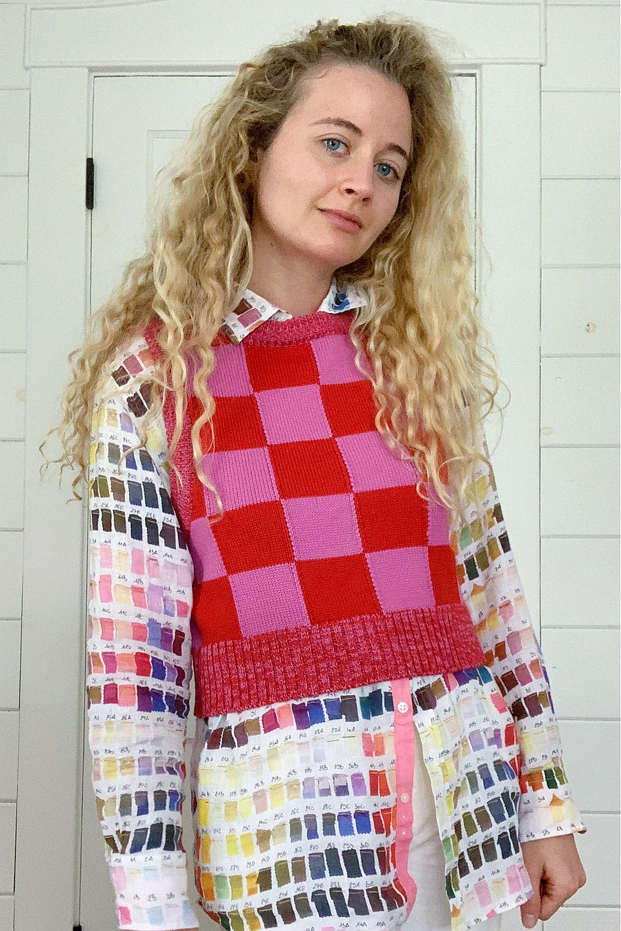 Warm Hugs Only Checkmate Vest - Red/Pink