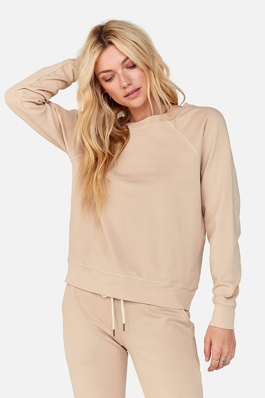 MATE The Label Organic Terry Raglan Sweatshirt - LATTE