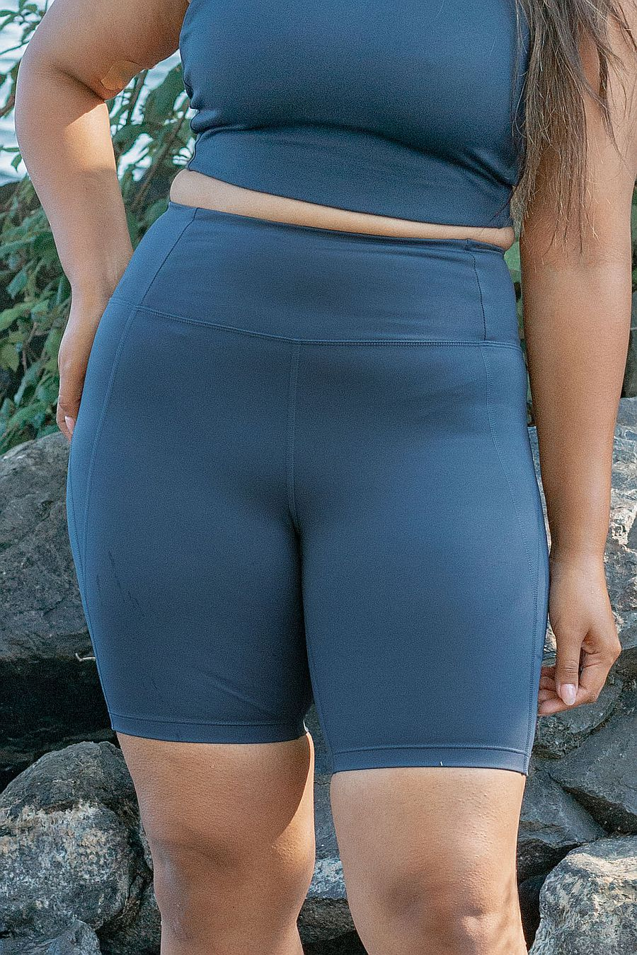 Girlfriend Collective Midnight high rise bike short