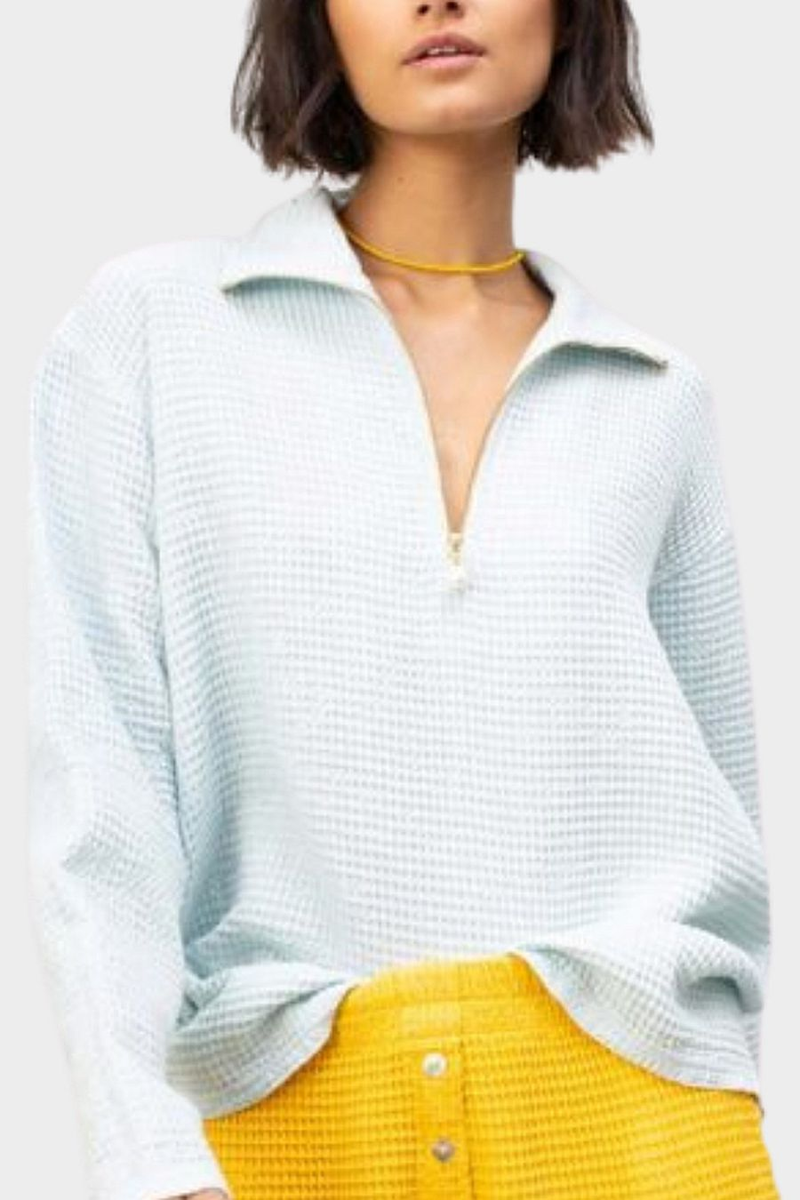 DONNI. Waffle 1/2 Zip Pullover - Sky