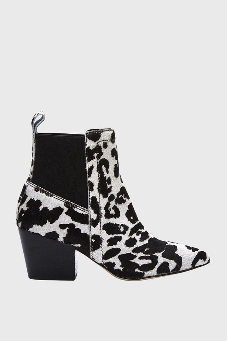Matisse Footwear Harper Western Bootie - black/white cow spot