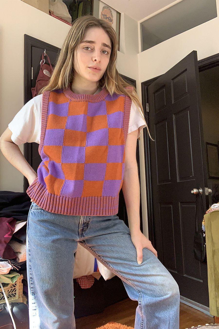 Warm Hugs Only Colorblock Vest - Lavender/Orange
