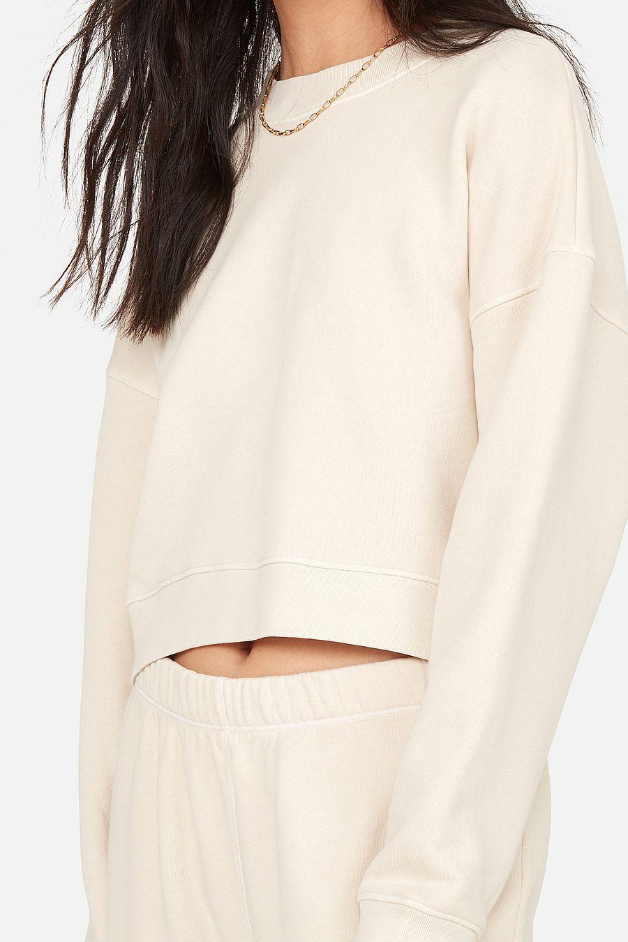 MATE The Label Fleece Crop Sweatshirt - BONE
