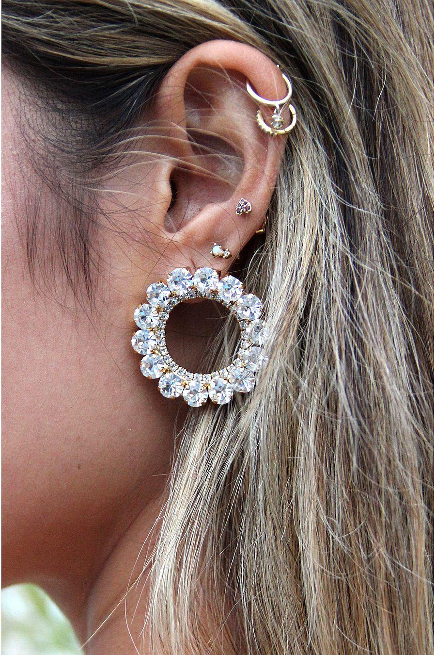Ettika Large Crystal and Gold Circle Stud Earring