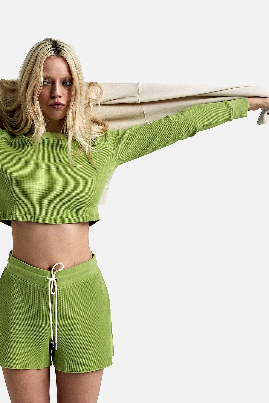 MATE The Label Organic Thermal Crop Top - PISTACHIO
