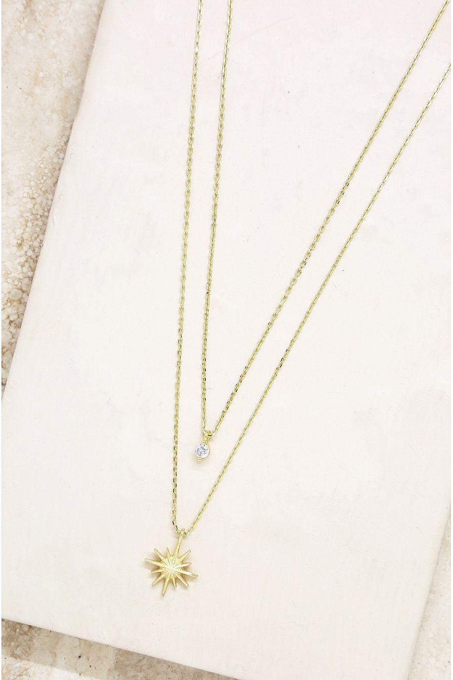 Ettika Layered Starburst & Crystal Necklace