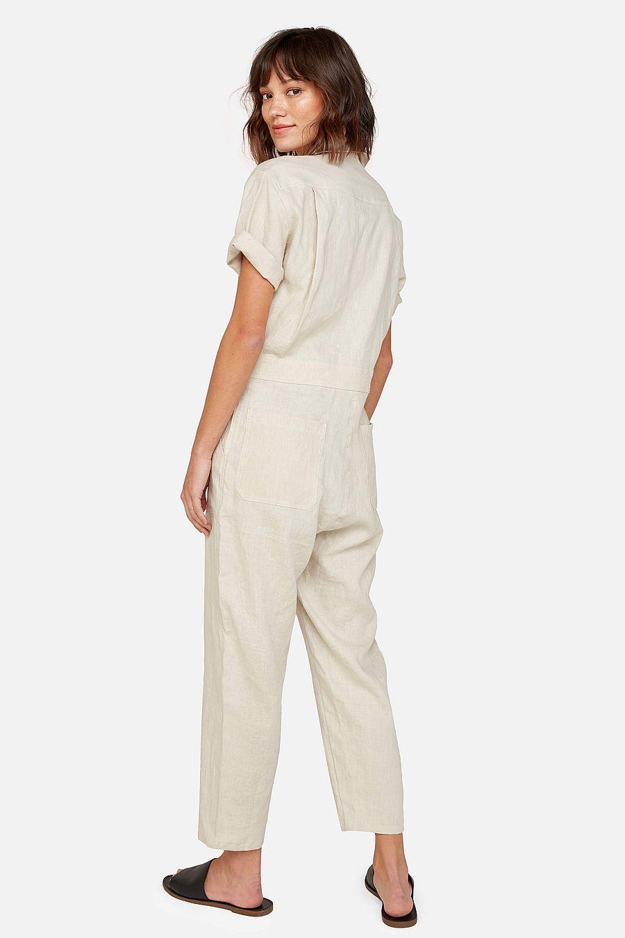 MATE The Label Linen Short Sleeve Jumpsuit - NATURAL