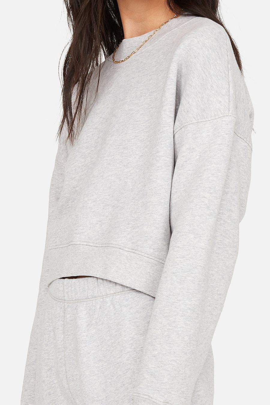 MATE The Label Fleece Crop Sweatshirt - HEATHER GREY