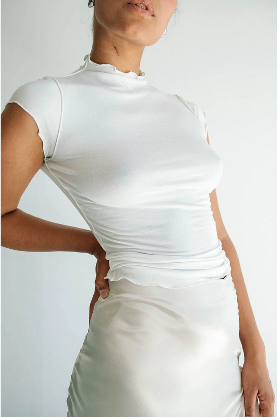 The Line by K Reese Mock Neck Top - White