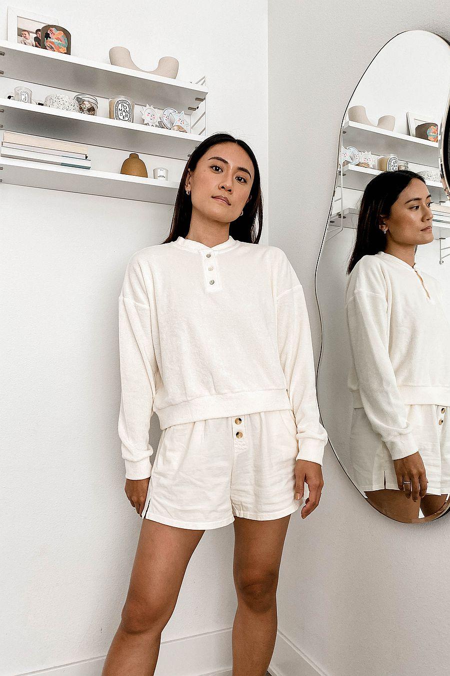 DONNI. Terry Henley Sweatshirt - Creme