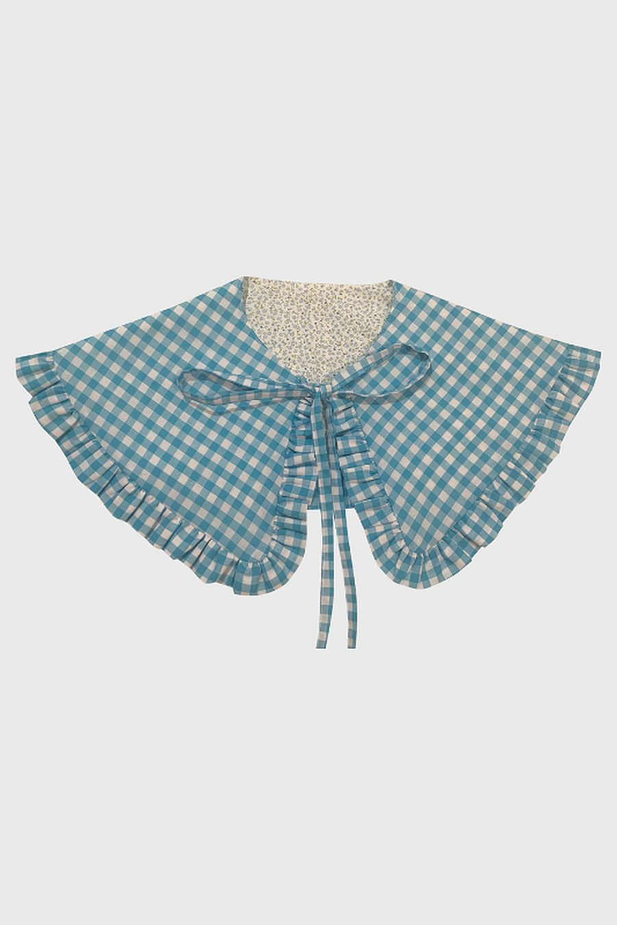 Big Baby Goes To Work Ruffle Collar - Floral/Baby Blue Gingham