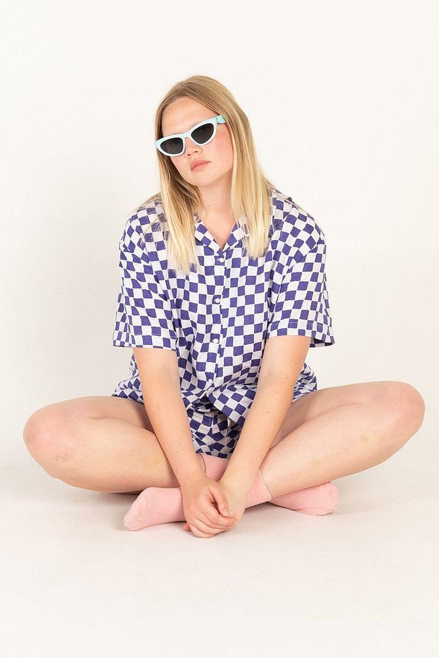Holiday The Label Pyjama Short Set - Blue Check