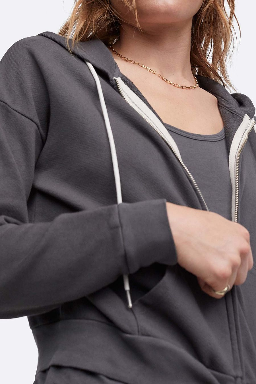 MATE The Label Organic Terry Zip Hoodie - CHARCOAL