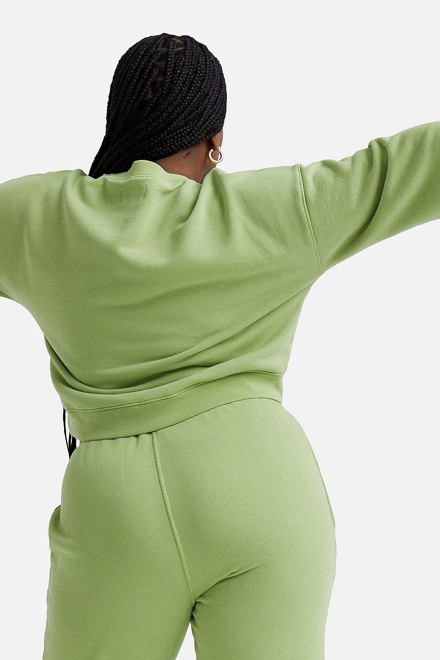 MATE The Label Fleece Crop Sweatshirt - PISTACHIO