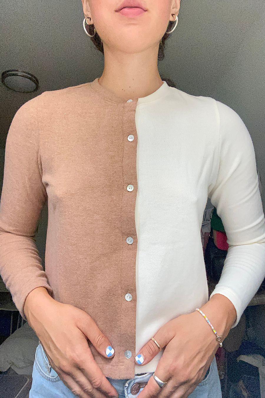 DONNI. Duo Sweater Cardi - Creme/Camel