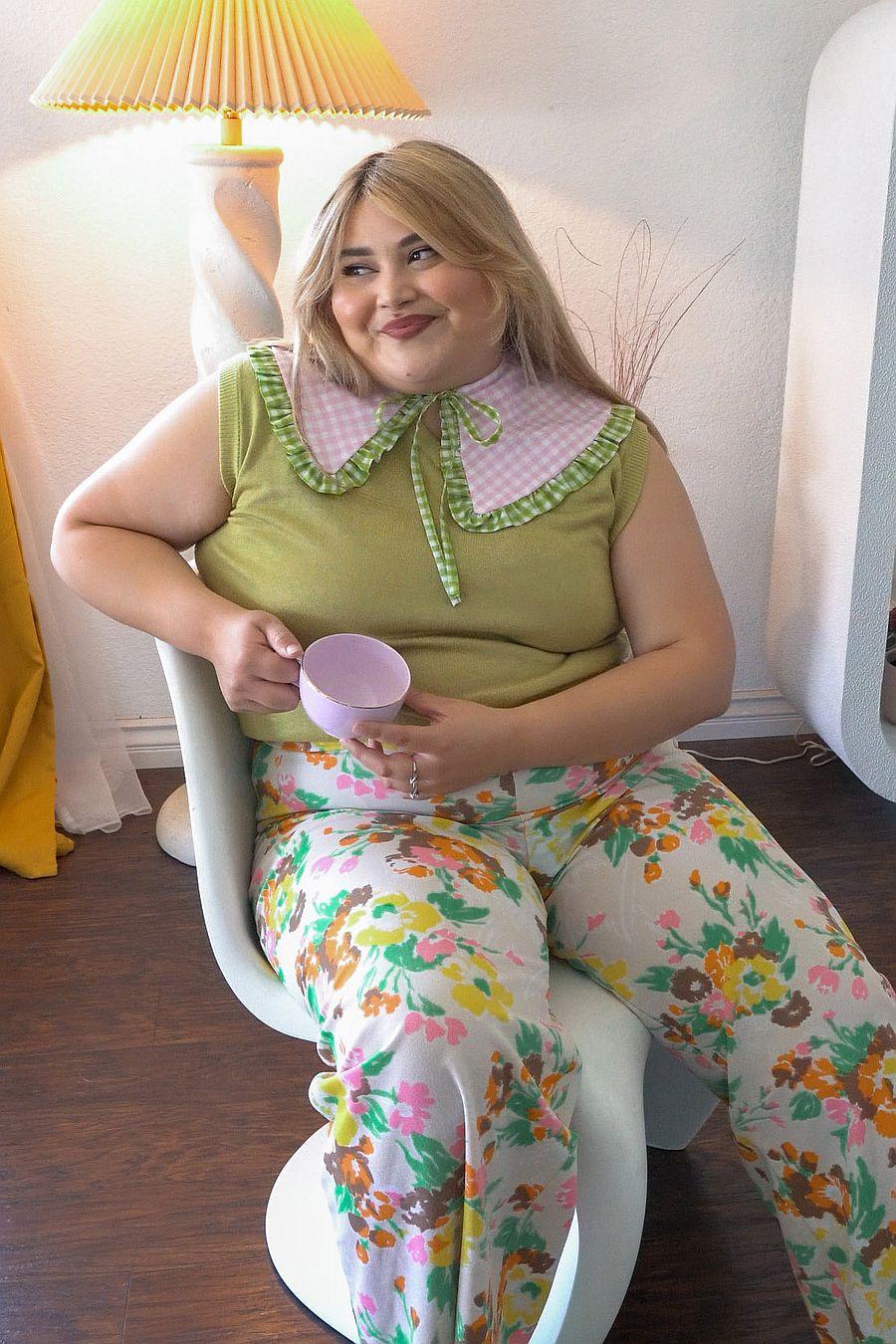 Big Baby Goes To Work Ruffle Collar - Pink/Green Gingham