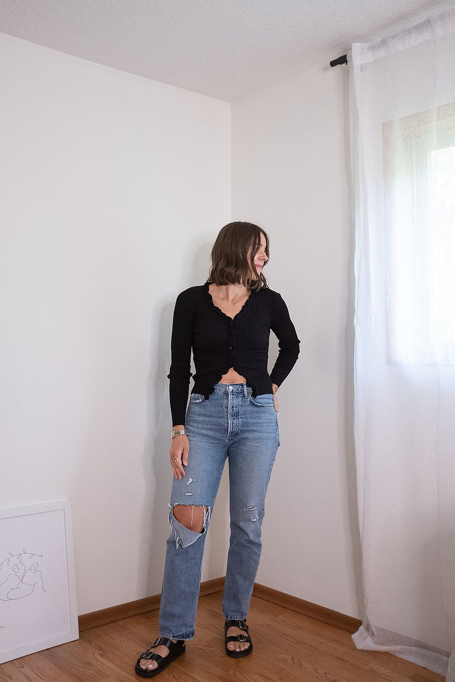Find Me Now Charlie Ruffled Knit Top - Black