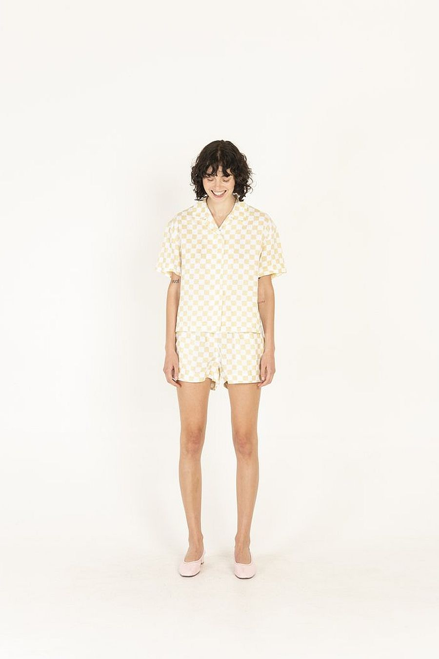 Holiday The Label Pyjama Short Set - Cream Check