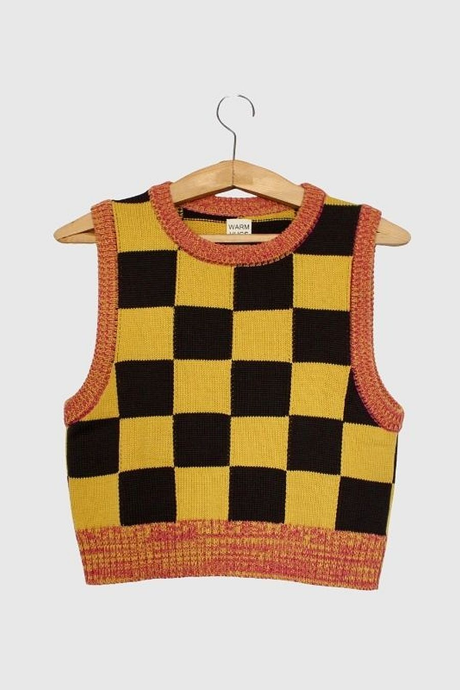Warm Hugs Only Checkmate Vest - Yellow/Brown