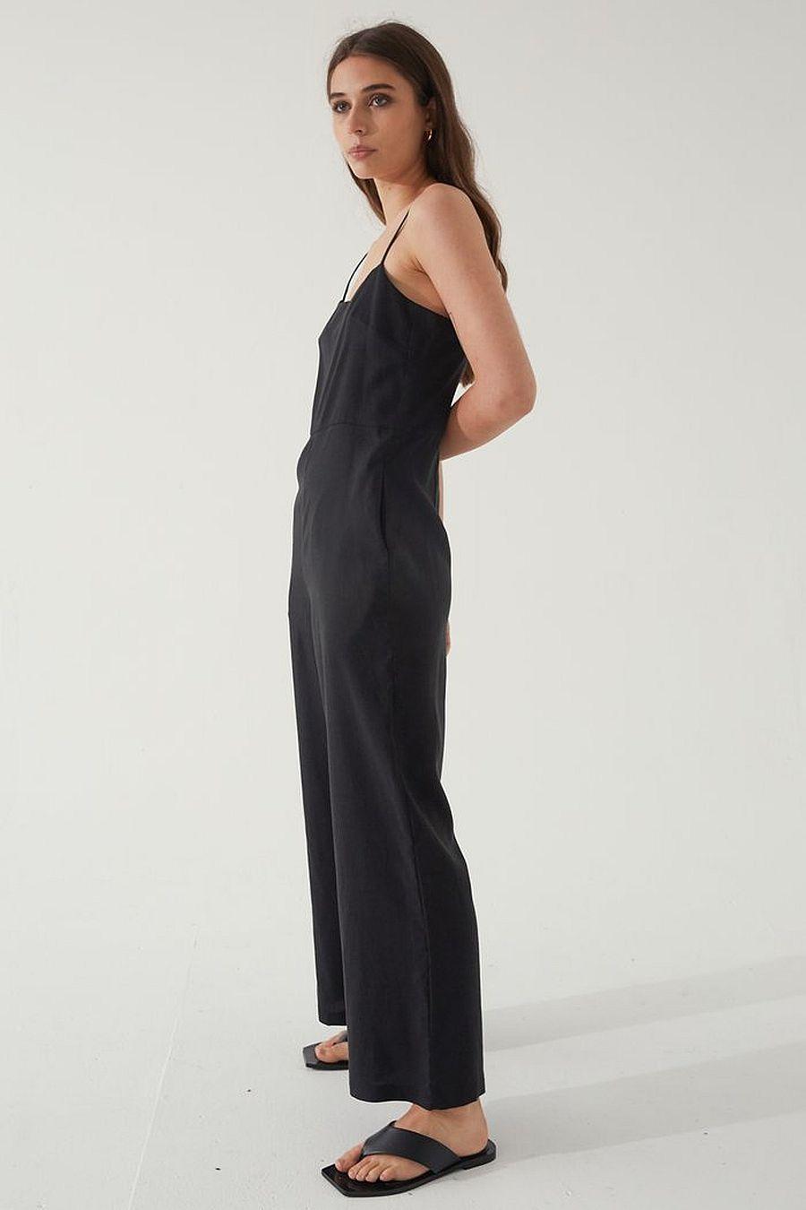 Almina Concept Camisole Linen Jumpsuit - Black