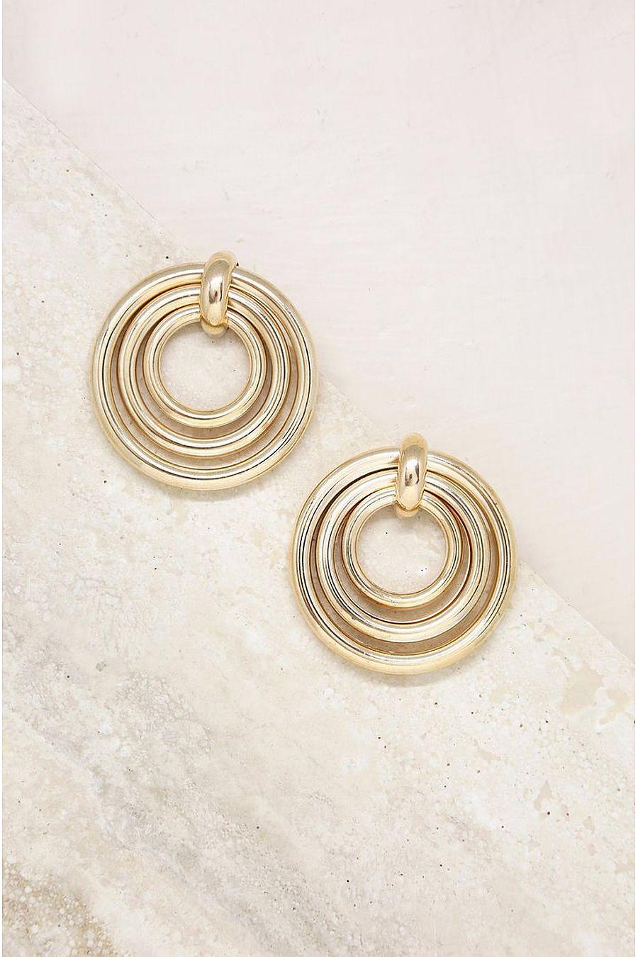 Ettika Layered Multi-Ring Earrings in Gold