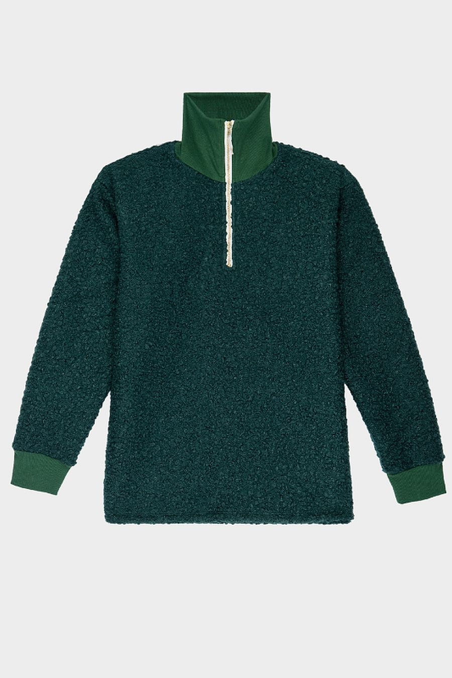 DONNI. Curly 1/2 Zip Pullover - Hunter