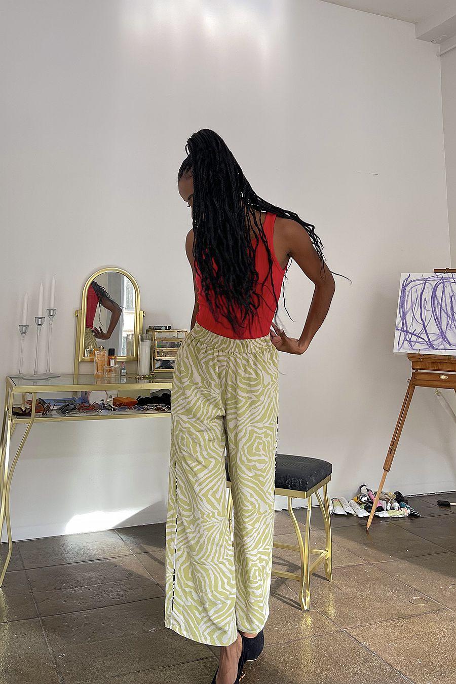 Wray NYC Luna Pant - Pistachio Zebra Swirl