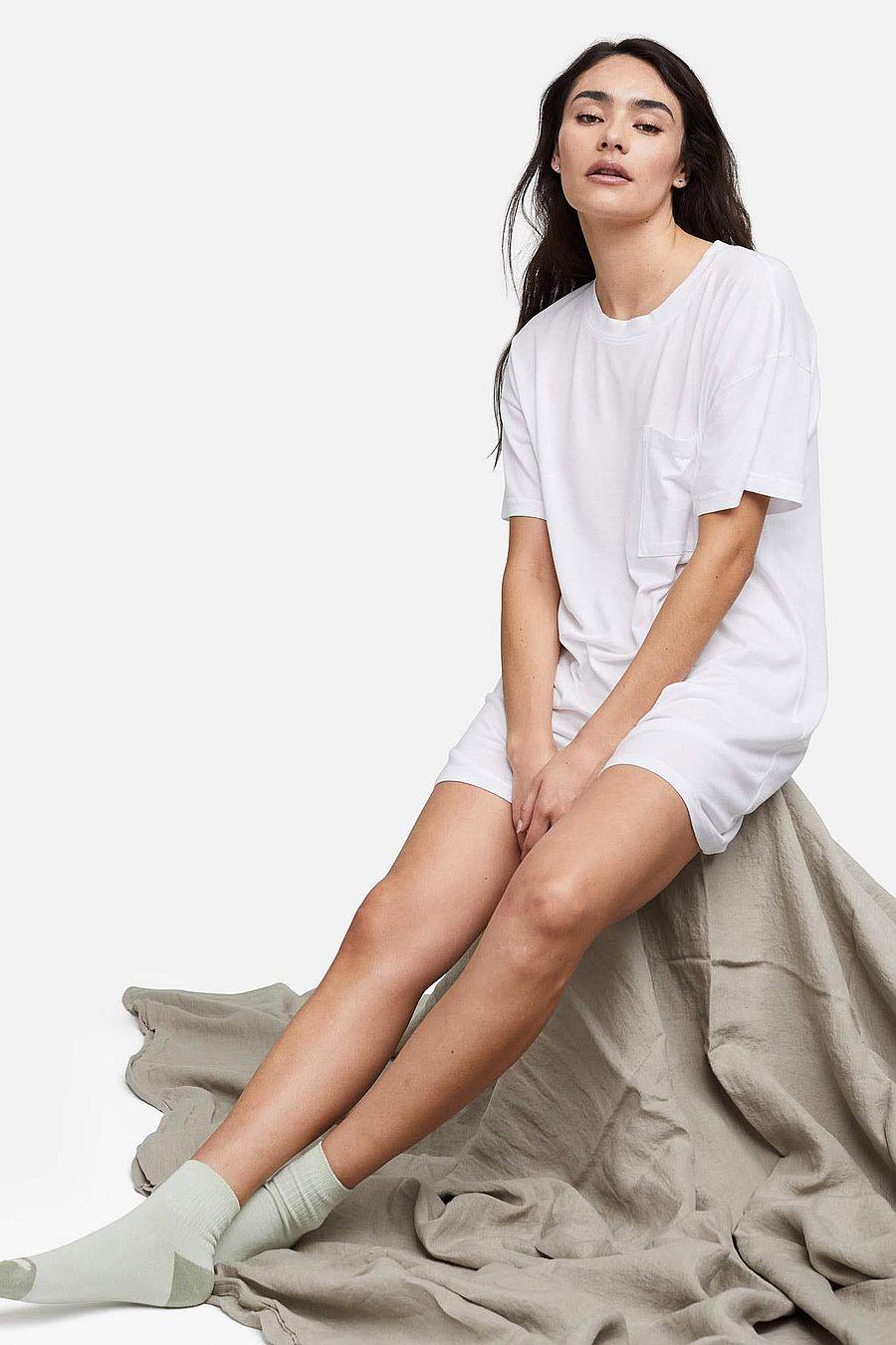 MATE The Label Tencel Sleep Tee Dress - TRUE WHITE