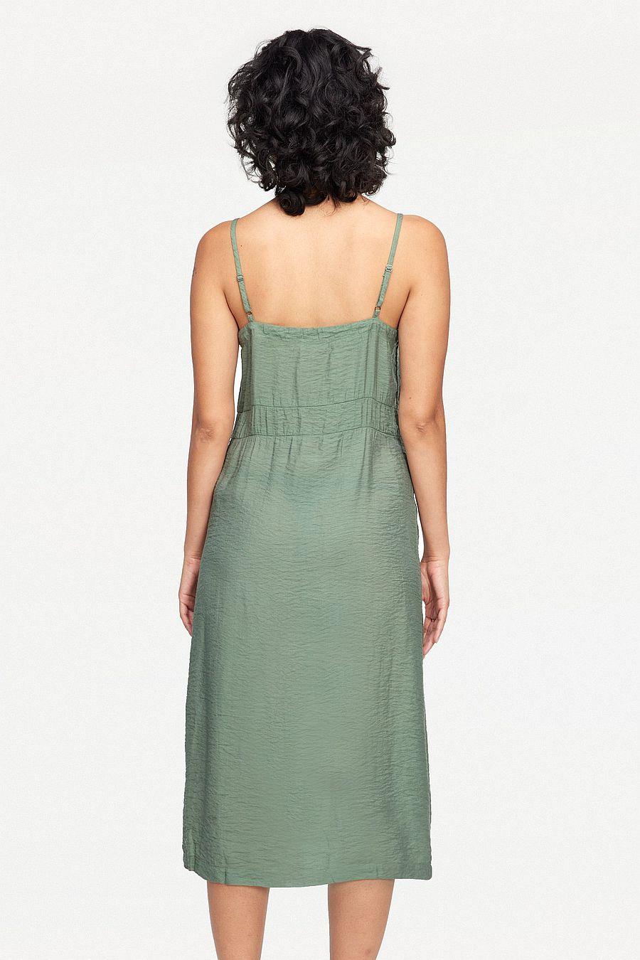 LACAUSA Clothing Alma Slip Dress - Seaweed