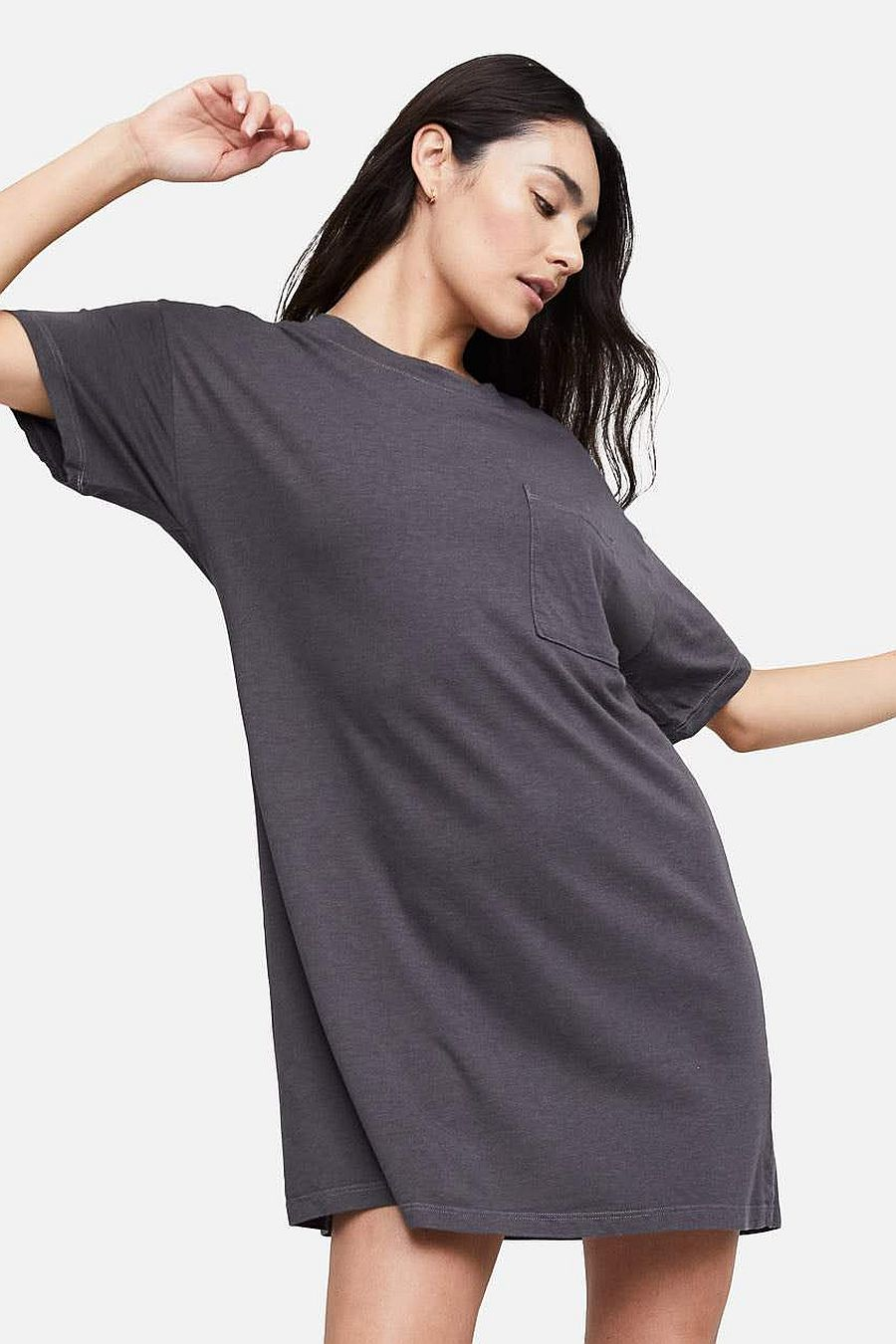 MATE The Label Tencel Sleep Tee Dress - CHARCOAL