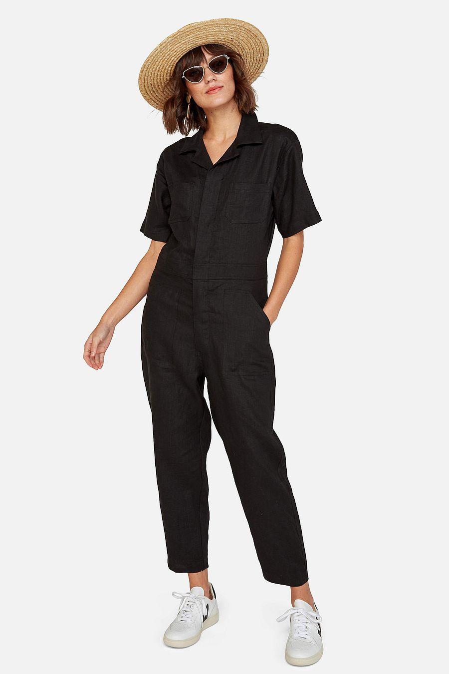 MATE The Label Linen Short Sleeve Jumpsuit - JET BLACK