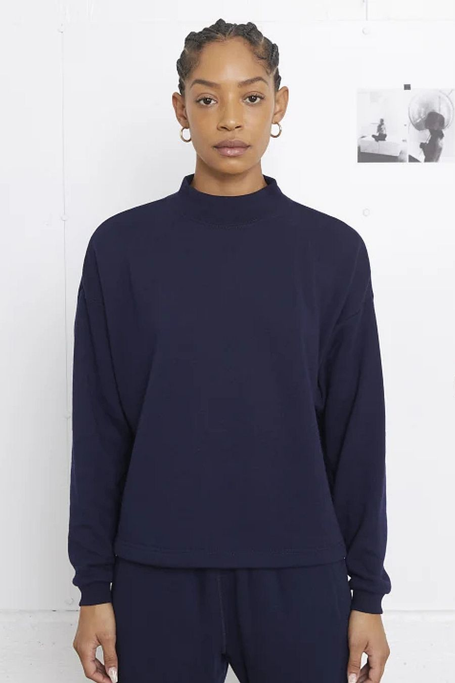 Entireworld Mock Neck Sweatshirt - Navy